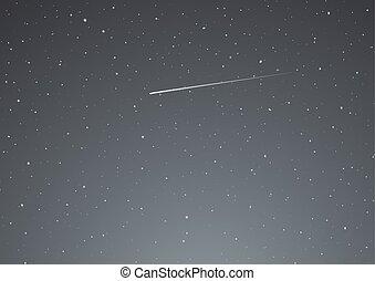 night sky with shooting star