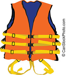 design of orange life jacket for safety life in water