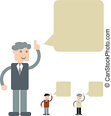 Design of person with speech bubble.