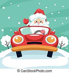 Design of santa claus driving a car at christmas