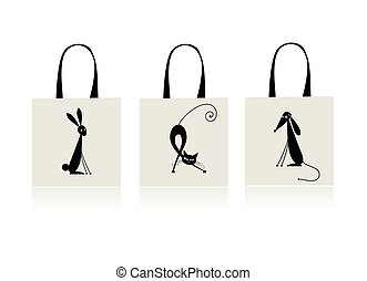 Design of shopping bag - bunny, cat and dog