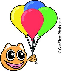 smile animal face with color balloons