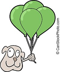 smile dog with balloons