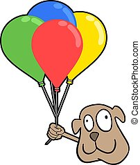 smile dog with color balloons