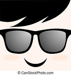 smile face with glasses draw