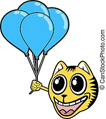 smile tiger with blue balloons