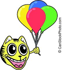 smile tiger with color balloons