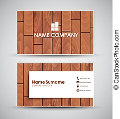 Design of the business card with wooden texture