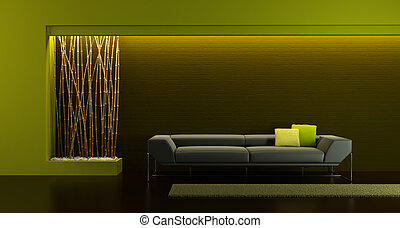 design of the lounge room - 3d rendering of modern longe...