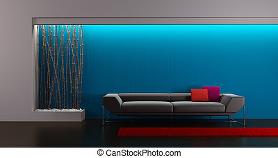 design of the lounge room - 3d rendering of modern lounge...