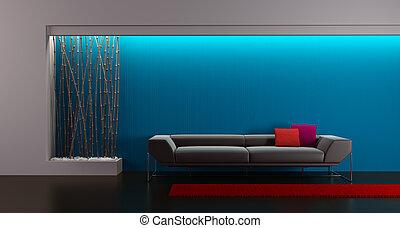 3d rendering of modern lounge room