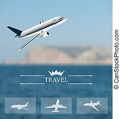 Design of tickets for worldwide travel. Mobile interface templat