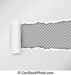 Design of torn paper strip. Torn open paper with space for text. Vector illustration