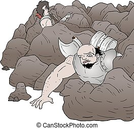 trapped in rocks
