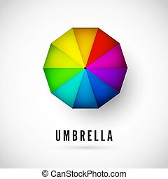 Design of Ubmrella with rainbow colors view from above. Vector illustration isolated on white background
