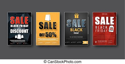 Design of vector posters for sale on a black Friday