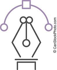 Design office fountain ink pen nib icon drawing school write symbol vector.