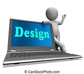 Design On Laptop Shows Creative Artistic Designing