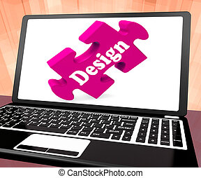 Design On Laptop Shows Creative Designer Artistic Designing...
