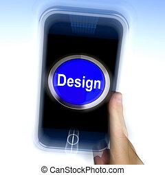 Design On Mobile Phone Shows Creative Artistic Designing