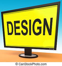 Design On Monitor Shows Creative Artistic Designing