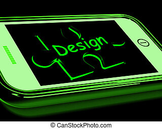 Design On Smartphone Shows Mobile Designing