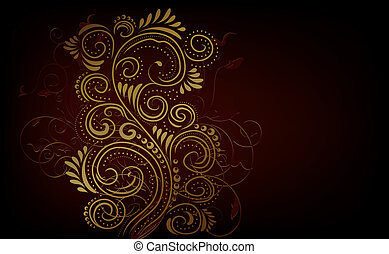 Design ornate background - Design black, red and gold vector...