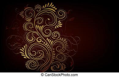 Design ornate background - Design black, red and gold vector...
