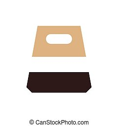 design paper bag icon brown color
