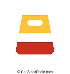 design paper bag icon yellow and red color
