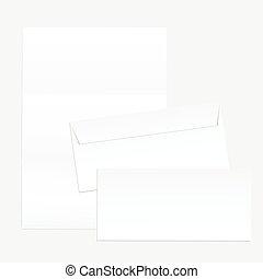 design., papier, ton, enveloppes, vide