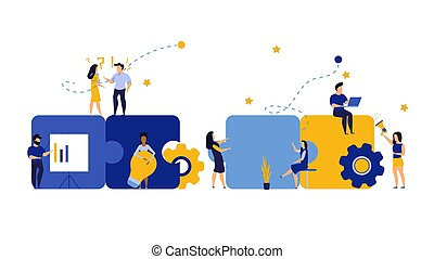 design., partie, partner., concept, coopération, illustration, puzzle, travail, ensemble, collaboration, collaboration, stratégie, gens, solution, groupe, équipe, idée commerciale, puzzle, vecteur, connect., association
