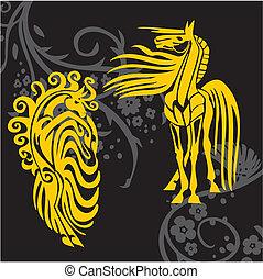 design, pferd, vektor, -, abbildung