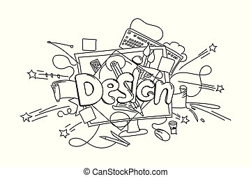 Design phrase. Vector hand drawn illustration isolated on white background