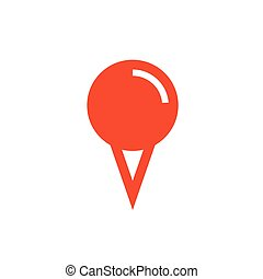 Design pin Flat icon and Logo  orange color