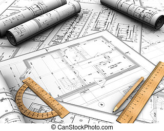 Design plan - Modern design plan with pencil and rules on it