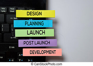 Design, Planning, Launch, Post Launch, Development write on sticky notes with keyboard laptop isolated on white board background