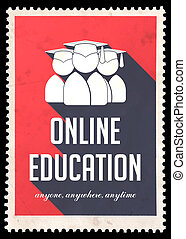 design., plano, educación, rojo, en línea