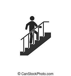 design., plano, vector, ilustración, escaleras, icon., escalera carrera