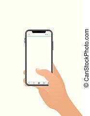 design., plat, gabarit, arrière-plan., téléphone, isolé, illustration, smartphone, tenue, mâle, style., mobile, vide, screen., arm., homme, toucher, main., blanc, vecteur, gadget, doigt