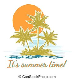 Design print for summer t-shirt with palm trees