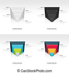 design pyramid infographic template set