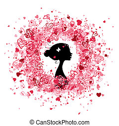 design, rahmen, frau, silhouette, valentine