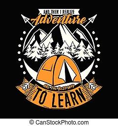 design., realize, bueno, aventura, learn., camiseta, lema,...