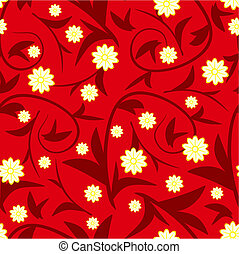 Design red floral seamless pattern with flowers