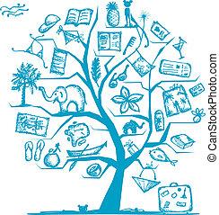 design, resa, begrepp, träd, din