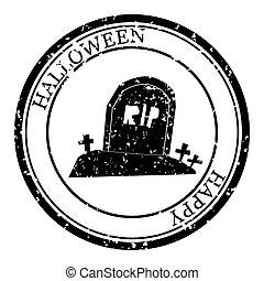 design., retro, ikon, halloween, postal., silhuett, seal., grunge, texture., pass, runda, vektor, design, kyrkogård, isolerat, stämpel
