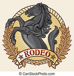 design), (rodeo, βουκολικοί αγώνες ιππασίας , επιγραφή
