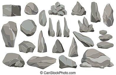 design, rubble., spiel, steine, angehäuft, steinen, vektor, schaden, klein, abbildung, kunst, icons., groß, stones., wohnung, architektur, oder, satz, ledig