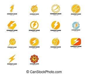 design, sätta, mall, logo, ikon, blixt, vektor, illustration